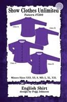 Button front shirt, english shirt, Show Clothes Unlimited, Pegg Johnson, Show Clothes Unlimited patterns, Show Clothes Unlimited Equestrian Wear patterns